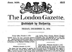 london gazette 1874
