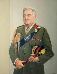 Lord Bramall, holding his Field Marshal's baton